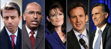 Party leaders and 2012 contenders will help give voice to the GOP as it looks to define itself. From left, Louisiana Go. Bobby Jindal, RNC Chairman Michael Steele, Alaska Gov. Sarah Palin, Minnesota Gov. Tim Pawlenty, former Massachusetts Gov. Mitt Romney.