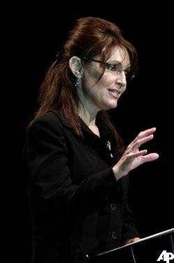 Alaska Gov. Sarah Palin speaks during the Vanderburgh County Right to Life fundraising dinner in Evansville, Ind., Thursday, April 16, 2009. (AP Photo/Darron Cummings)