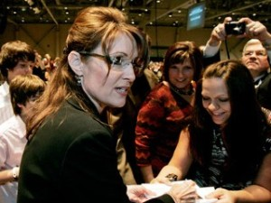 Alaska Gov. Sarah Palin greets supports before giving a speech at the Vanderburgh County Right to Life fundraising dinner in Evansville, Ind., Thursday, April 16, 2009.