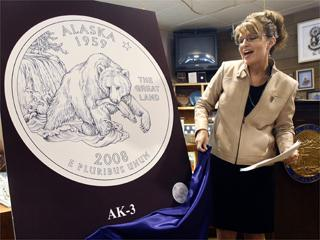 The Associated Press. Alaska Gov. Sarah Palin, shown in this 2007 photo, unveiling the state's commemorative quarter, will be attending Founder's Day in Auburn on June 6.