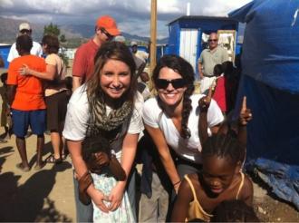 Bristol and Cissie Lynch at Samaritan's Purse shelter in Haiti