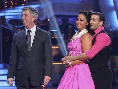 Bristol and Mark With Announcer after Week 5 Performance