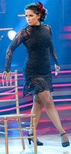 Bristol in black lace dress doing Paso Noble on DWTS