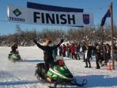 Palin and Davis cross finish line to win 2007 Iron Dog race