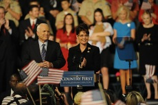 Palin and McCain in Cleveland with families in background