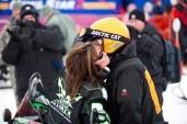 Sarah gives Todd a kiss before 2011 Iron Dog race start