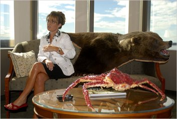 Sarah in Office with Alaskan King Crab on Table