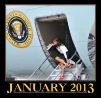Sarah on steps of Air Force One January 2013