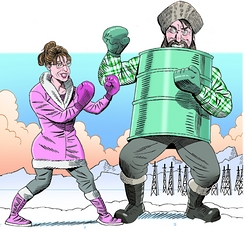Sarah Palin vs Alaska Establishment Cartoon