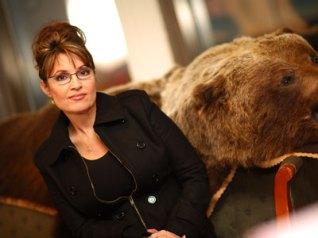 Sarah Palin with Bear Skin on Sofa