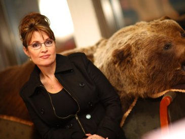 Sarah Palin with Bear Skin on Sofa