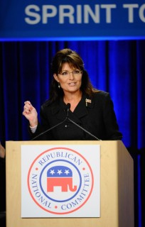 Sarah speaking at RNC rally in Anaheim CA