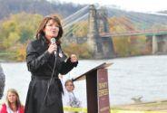 Sarah speaking in front of river in Wheeling VA