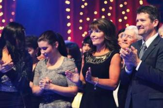 Sarah and Todd Palin appear in the audience to watch their daughter Bristol perform during the semi-finals episode of Dancing With The Stars