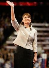 Sarah waving and looking upward at RNC