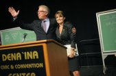 Sarah with Glenn Beck at podium at Anchorage 911 Event