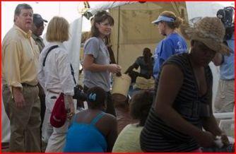 Sarah with Greta and husband in Haiti