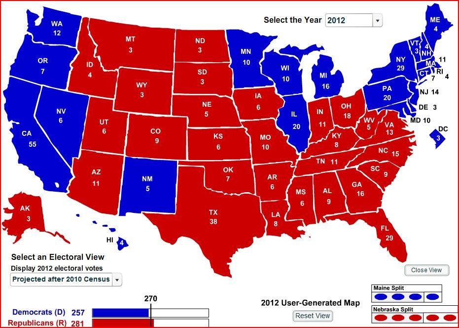 Census Bureau Electoral College 2012 Map Shows Palin's ...