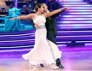 Bristol and Mark doing fox trot on DWTS - Bristol in white dress