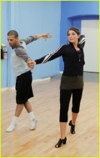 Bristol and Mark Rehearsing at DWTS - Bristol in black warmup outfit