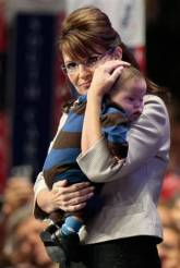 Closeup of Sarah and Trig at RNC Convention - Sarah pensive