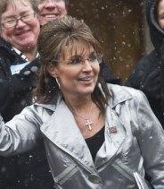 Closeup of Sarah at WI Tea Party rally