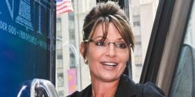 Closeup of Sarah during bus tour