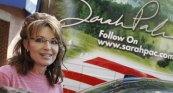 Closeup of Sarah next to signature on One Nation bus