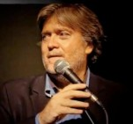 Closeup of Stephen Bannon talking at microphone