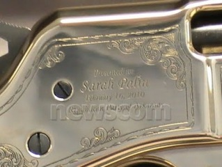 Engraving on Henry Rifle Presented to Sarah at Arkansas GOP Fundraiser 02-16-10