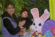 Governor Palin and Trig with Easter bunny in 2009