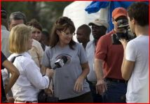 Greta interviewing Sarah in Haiti - Todd there also