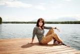 Newsweek Photo Shoot - Sarah posing at end of dock on Lake Lucille