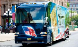 One Nation Tour bus leaves Liberty Bell Center in Philadelphia