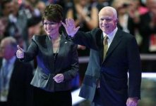 Palin and McCain - Dark Green Jacket and Thumbs Up