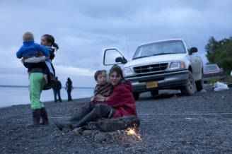 Palin Family on Beach in Dillingham on July 4th