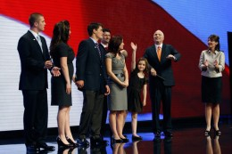 Palins and McCain on stage at RNC convention - Piper waving