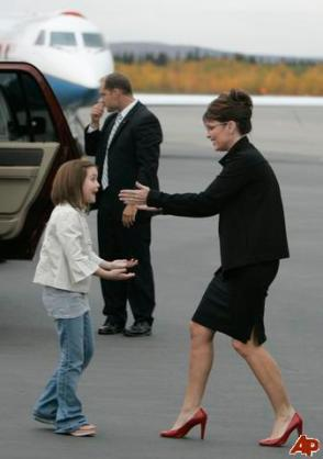 Piper greeting Sarah at airport