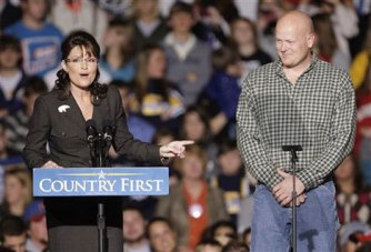Sara with Joe the Plumber - larger shot