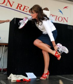 Sarah about to change high heels for tennis shoes