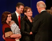 Sarah and Biden square off before debate - Todd - Willow holding Trig