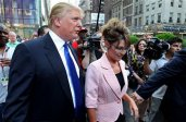 Sarah and Donald Trump walk together to a meeting in New York City
