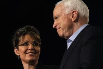 Former Alaska Governor Palin and U.S. Senator McCain (R-AZ) attend a campaign rally at Dobson High School in Mesa