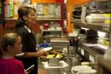 Sarah and Piper getting ready to serve at pie shop
