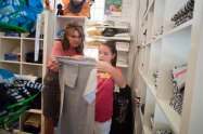 Sarah and Piper shop for t-shirts