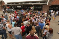Sarah and Todd surrounded by reporters at Iowa State Fair 2011