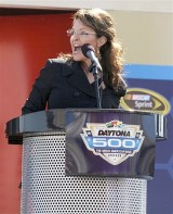 Sarah at Daytona 500 Podium