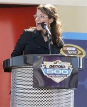 Sarah at Daytona 500 Podium