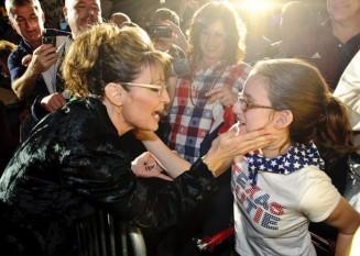 Sarah at Houston Perry Rally - writing on hand