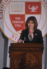 Sarah at podium at CSU Stanislaus